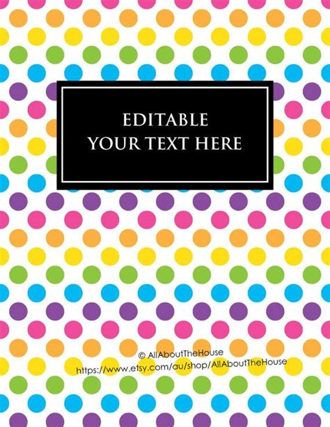 editable binder cover templates editable printable binder cover notebook planner cover