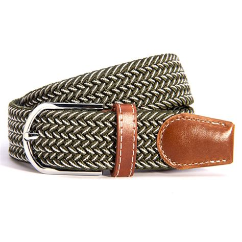 Woven Faux Leather Belt pop woven stretch braided elastic faux leather buckle
