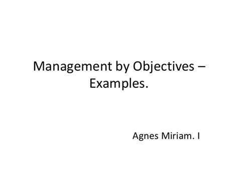 management by objectives template management by objectives