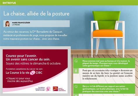 Avec Une Chaise Bernadette De Gasquet by La Chaise Alli 233 E De La Posture La Presse