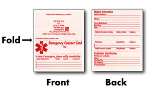 beaufiful emergency contact card template images