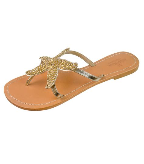 beaded sandal gold starfish beaded flat leather sandals by aspiga