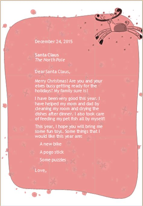 a letter from santa template for word letter from santa template word best free home