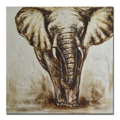 cuadros elefantes lienzo cuadro elefante tonos marrones 80x3x80 cm