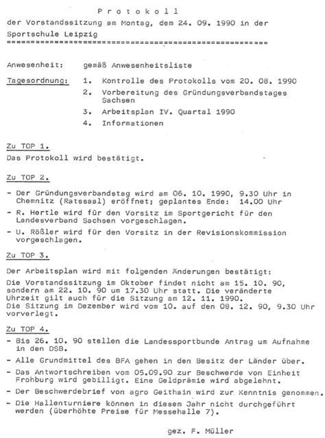 Protokoll Schreiben Muster Schule Leipziger Fu 223 Ballverband 1990 1999