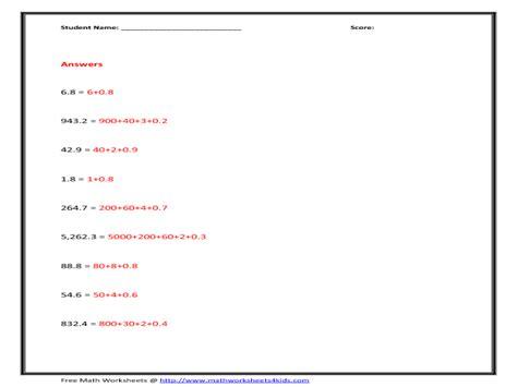 math worksheets expanded form decimals number words