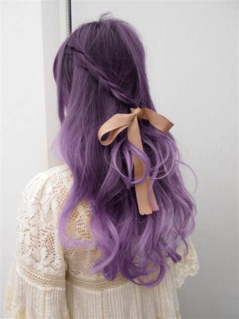 brautfrisur offen glatt lila haare eine besonders interessante idee