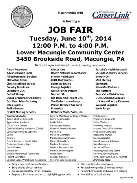 pa careerlink job fair lower macungie township and pa careerlink job fair 6 10 14
