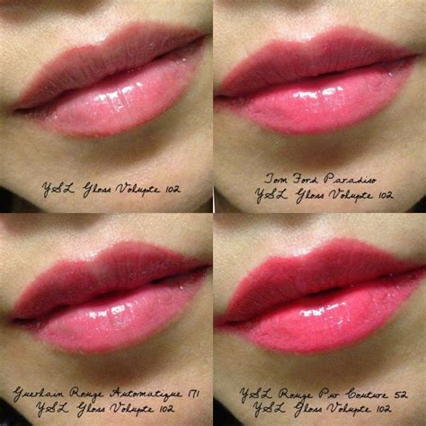 Lipstik Yves Laurent ysl gloss volupte 102 swatches satine roses and swatch