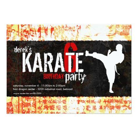 karate birthday card template karate invitation zazzle