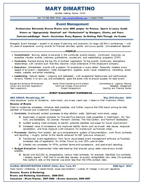 Resume Cover Letter Exles Event Planning Resume Sles Event Planner