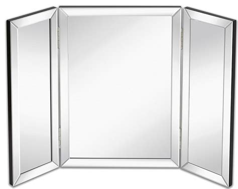 Tri Fold Bathroom Wall Mirror Kedyrolo Llc Hamilton Trifold Vanity Mirror Solid Hinged Sided Tri Fold Beveled Wall