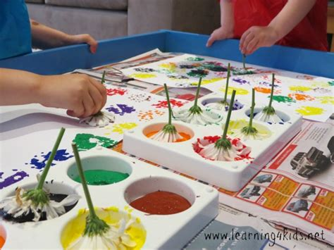 flower printing learning 4 kids