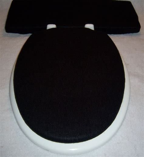 bathroom tank cover sets solid black fleece elongated toilet seat lid and tank lid