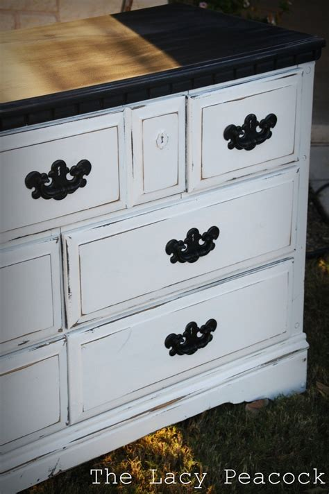 How To Distress A Dresser by Black And White Distressed Dresser Paintin