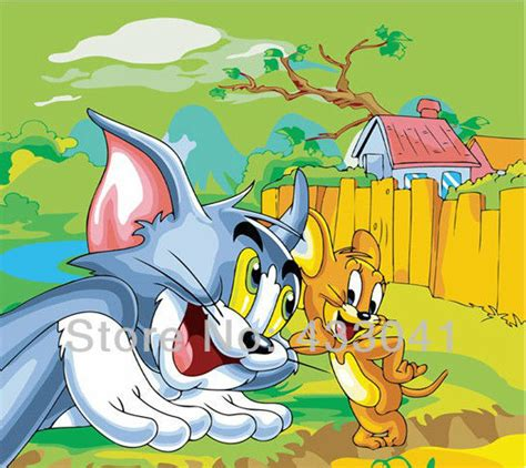 painting for tom and jerry handpainted modern abstract cat mouse tom and jerry anime