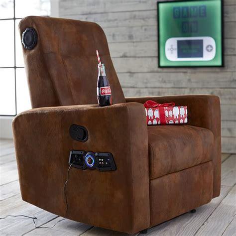 recliner chair with speakers trailblazer kick back recliner speaker media chair pbteen