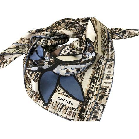 Channel Scarf chanel scarf scarves silk brown ref 40653 joli closet