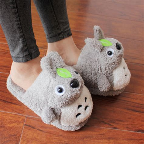 big animal slippers aliexpress buy totoro plush slippers with leaf