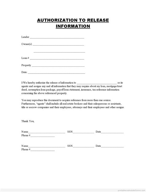 release  information forms printable blank template