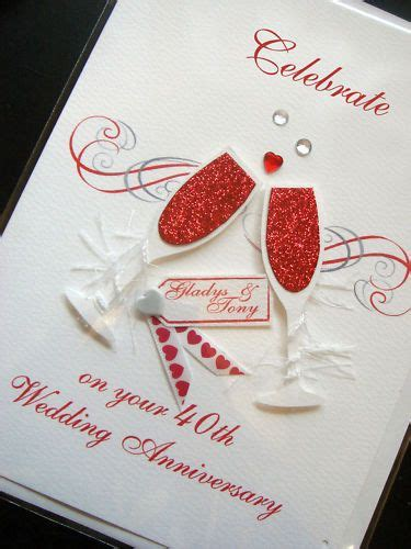 Handmade Ruby Anniversary Cards - personalised handmade 40th ruby anniversary card