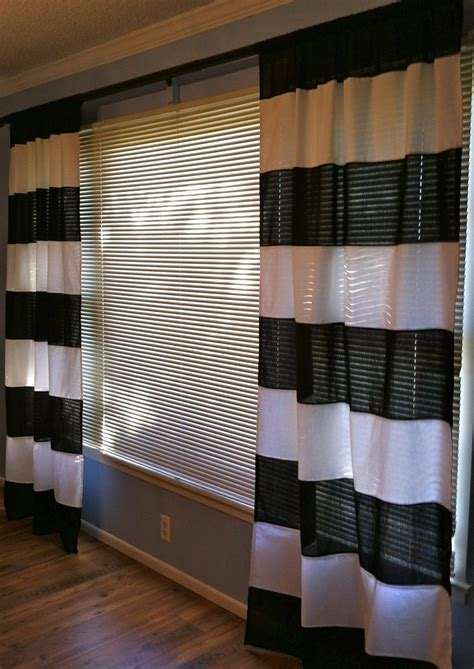 Black and white horizontal striped curtains