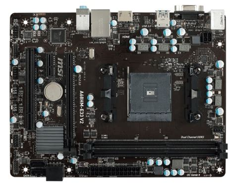 msi a68hm e33 v2 socket fm2 vga hdmi micro atx motherboard ebuyer