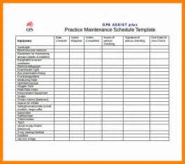 Maintenance Schedule 8 Preventive Maintenance Schedule Format Resumed