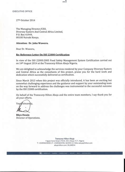 Service Letter Certificate Reference Letter On Iso22000 Certification 2