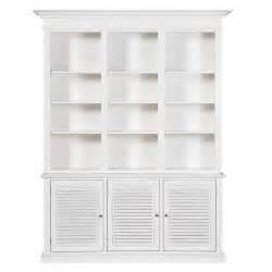 White Wooden Bookshelf Wooden Bookcase In White W 180cm Biarritz Maisons Du Monde