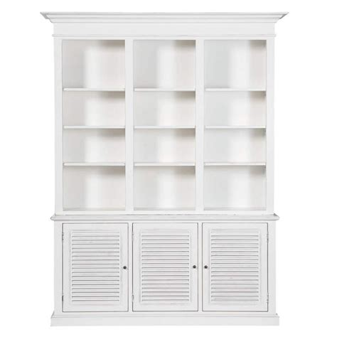 wooden bookcase in white w 180cm biarritz maisons du monde
