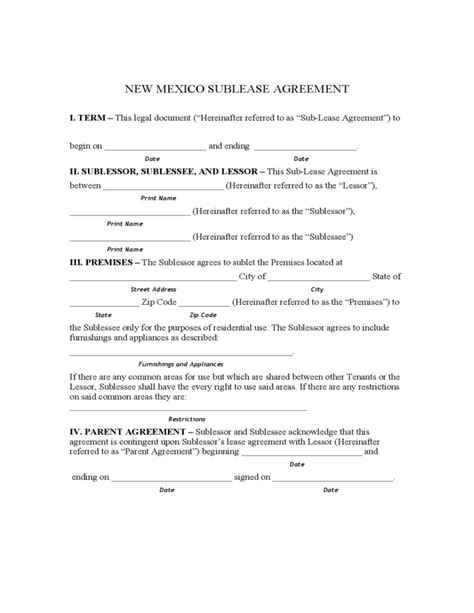 printable lease agreement new mexico new mexico sublet agreement form free download