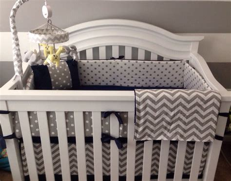 Crib Bedding Set Gray White Navy Blue By Butterbeansboutique White And Blue Crib Bedding Sets
