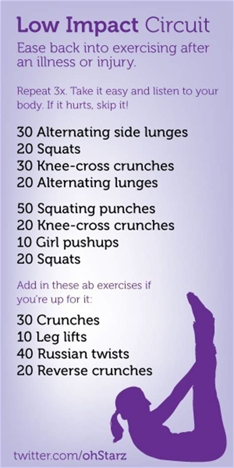 low impact circuit workout health fitness