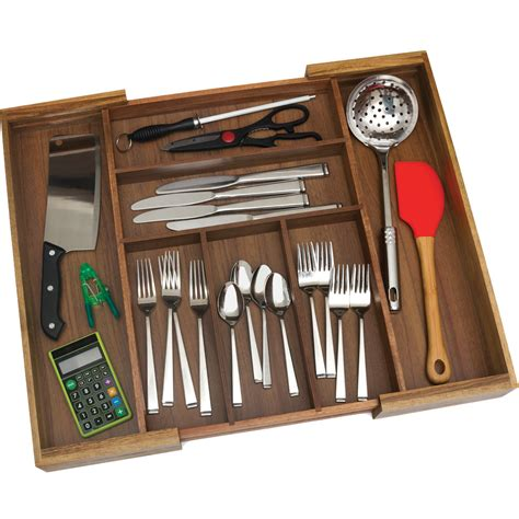 expandable silverware organizer in kitchen drawer organizers