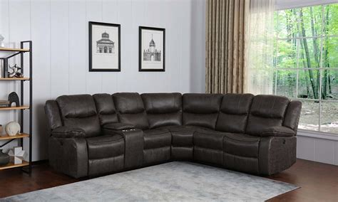 gray dual power reclining storage sectional  dump