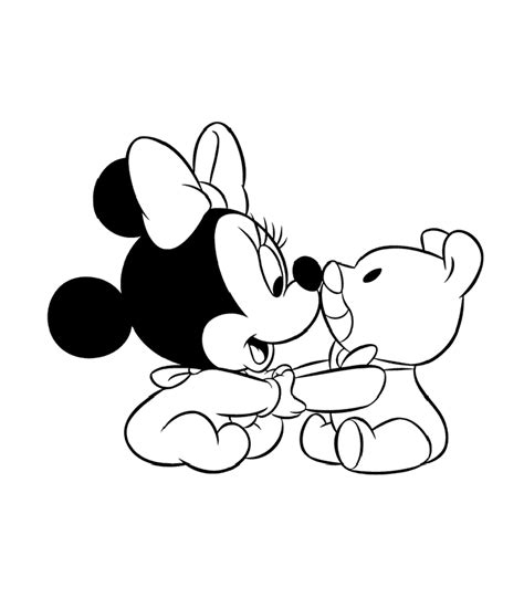 Baby Mickey Mouse And Minnie Mouse Coloring Pages Disney Baby Minnie Coloring Pages