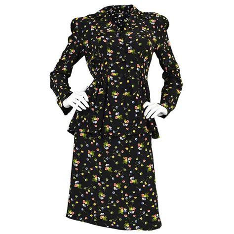 Cp Black Rayon Print Oscar Fashion3 1970s jeff banks floral rayon peplum skirt suit for sale at 1stdibs