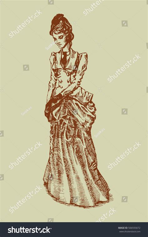 a century of graphic beautiful woman dress nineteenth century wear stock vector 506593072 shutterstock