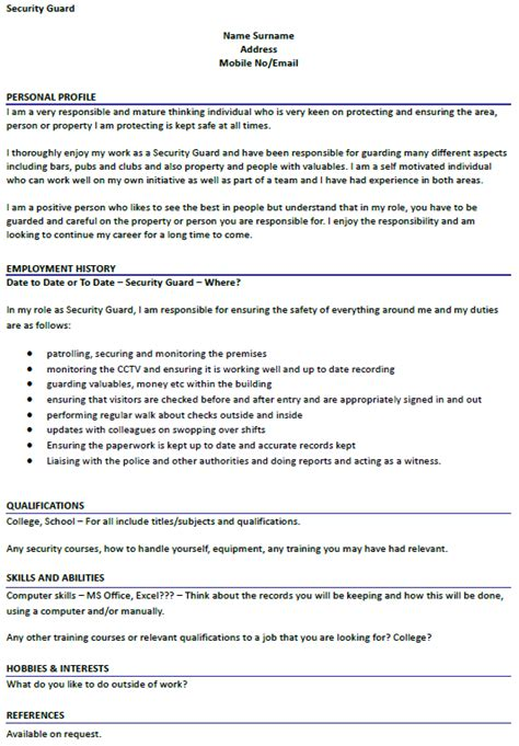 curriculum vitae format for security guard security guard cv exle icover org uk