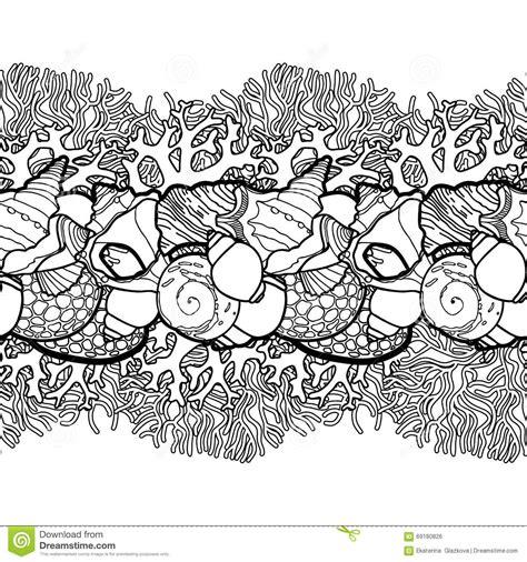 ocean border coloring page graphic seashells border stock vector image 69180826