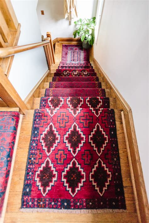 stairs rugs mix matched patterns diy stair runner made with vintage rugs wit delight