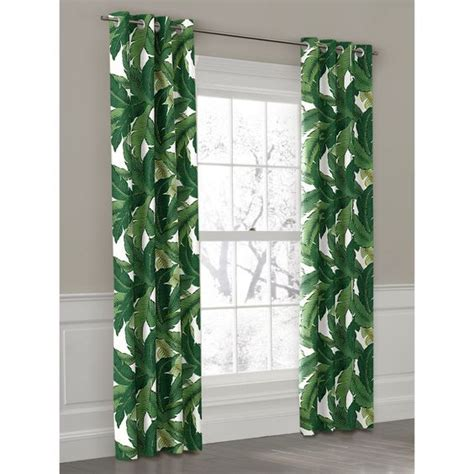 leaf curtains green banana leaf grommet outdoor curtain loom decor