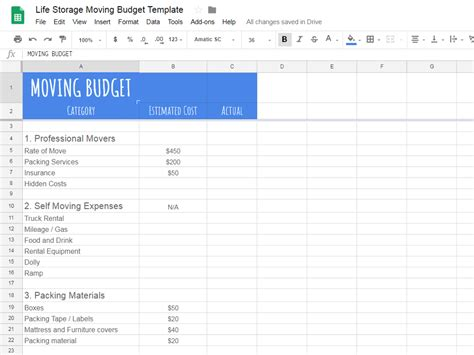 Create A Realistic Moving Budget Using This Guide Moving Expenses Template