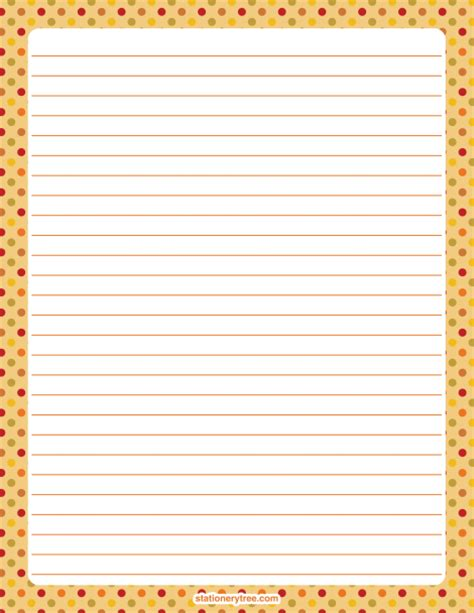 printable fall writing paper with lines printable fall polka dot stationery