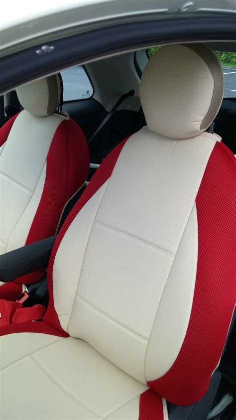 fiat 500 seat covers mix leatherette synthetic two front custom sugar car