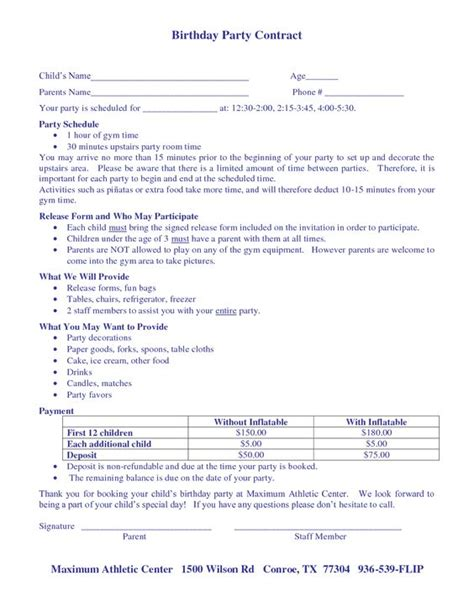 Birthday Contract Template Wedding Themes Wedding And Birthdays On Pinterest