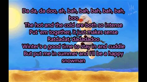 printable lyrics in summer frozen in summer lyrics olaf frozen youtube
