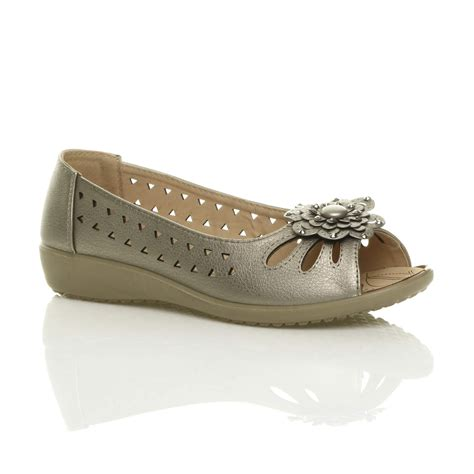 Wedges Mute Gold Size 36 40 Kemiripan 98 Ringan Dan Nyaman womens low heel flat wedge comfort summer cut out