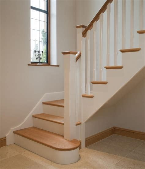 oak stairs pictures oak staircase white spindles design treads combine with